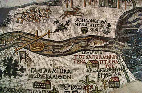 The Madaba map,a mosaic on the floor of St.George's Church in Madaba,Jordan. Originally 6 x 15,5 m,the map showed an area between Lower Egypt and Sidon.Today's fragment shows Jerusalem,the Dead Sea and the river Jordan,with fish turning back from the Dead Sea.