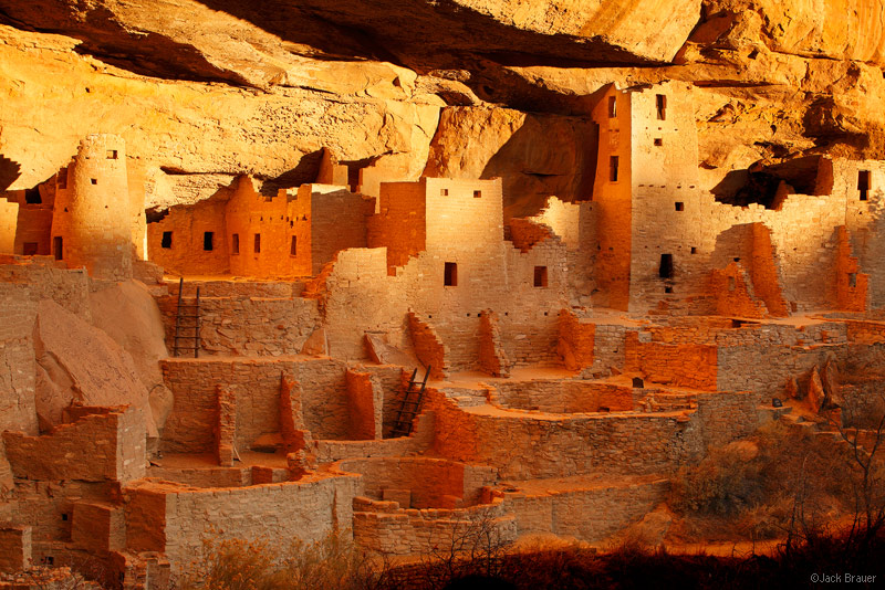 <p>The Cliff Palace is the largest cliff dwelling in Mesa Verde, with more than 150 rooms. The cliff dwellings were builtaround the year 1200 A.D.by the Ancestral Puebloans, who farmed on the mesa above the dwellings.</p>