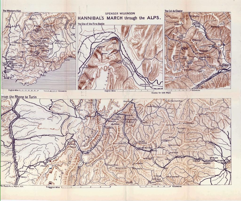 Карта перехода Ганнибала через Альпы. 1911 год.