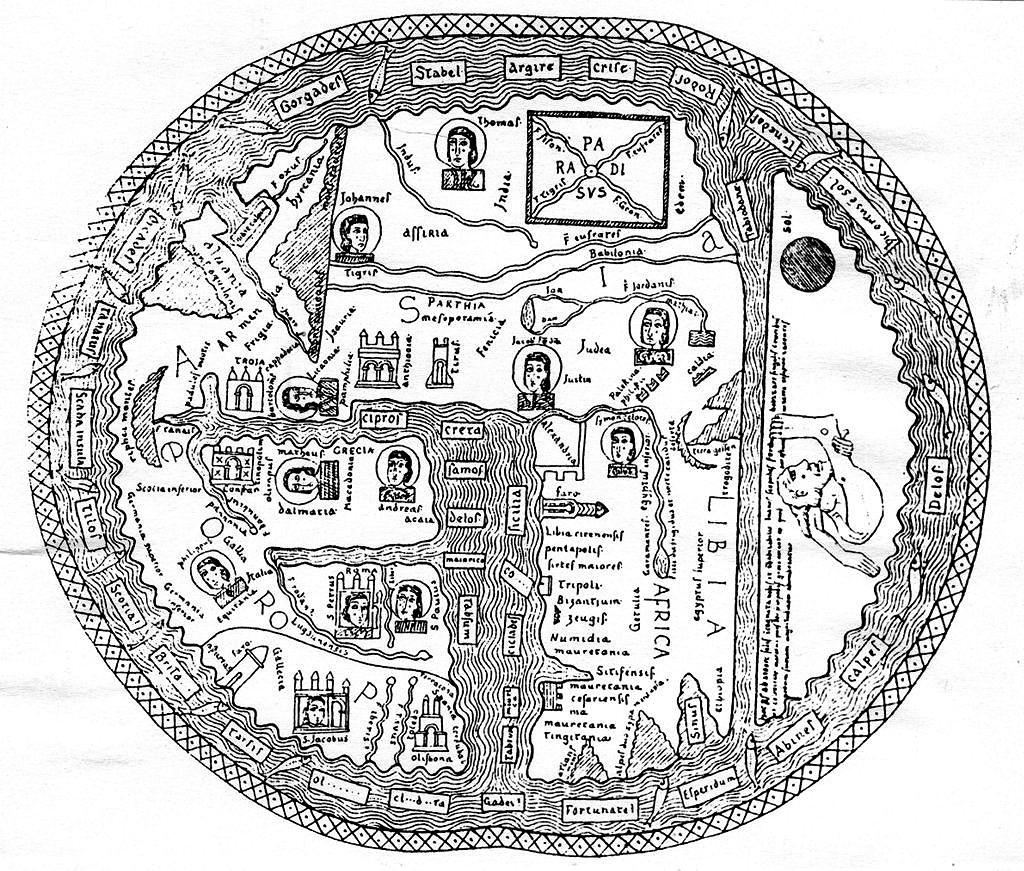 На карте XIII века (юг - сверху) в юго-восточной Азии показан Земной рай. Из него вытекают четыре главные реки мира. Обычно считается, что это Нил, Тигр, Евфрат и Ганг.