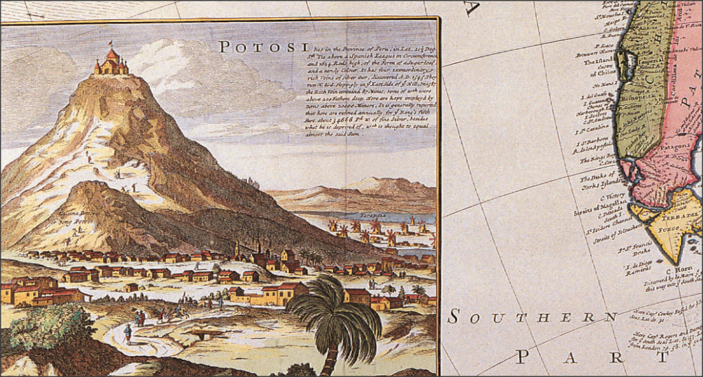 Знаменитая шахта в Потоси в Боливии. Карта Германа Молла XVII века