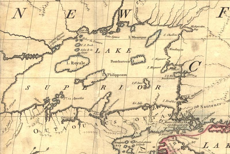 Выдуманные острова в озере Верхнее на британской карте 18 века (Фото: Wikimedia)