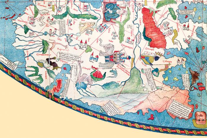 На карте 1447 года видно, что в середине XV века форма и размеры Африки были еще неизвестны европейцам.