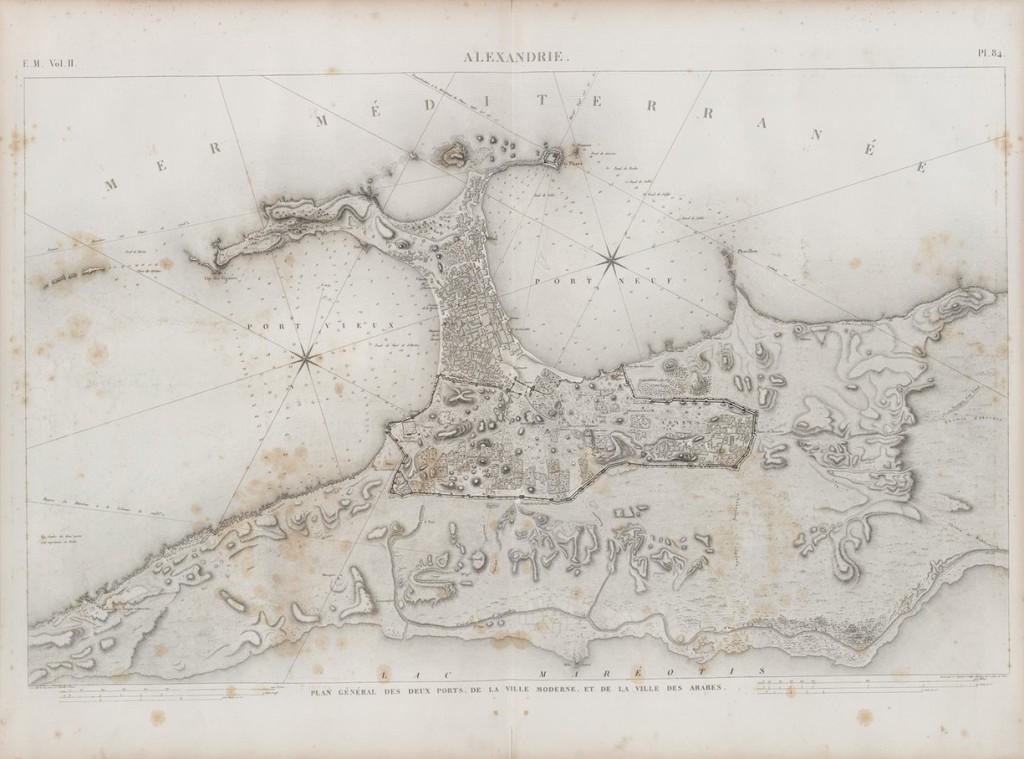 Рисунок двух портов Александрии. Архитектор решил нарисовать план города в натуральную величину с помощью... ячменных зерен