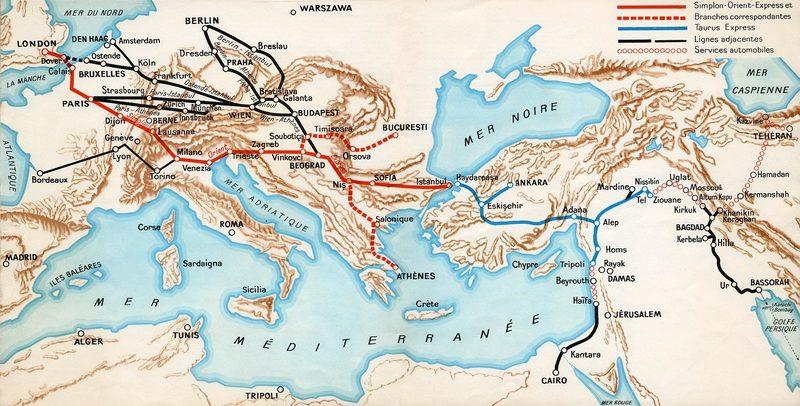 Карта Симплонского Восточного экспресса, 1932 год