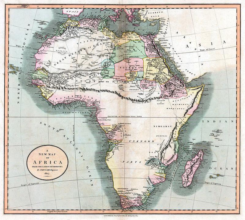 Несуществующие Лунные горы пересекают весь Африканский континент на карте 1805 года
