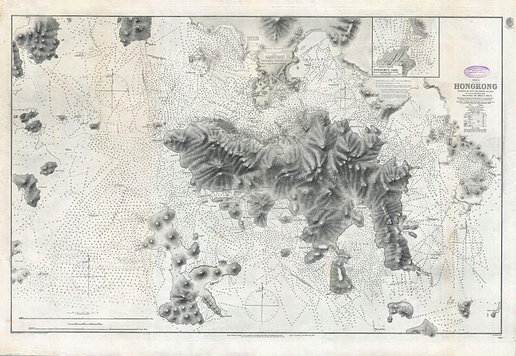 """""""Первое британское картографическое исследование Гонконга"""", 1843 год."""