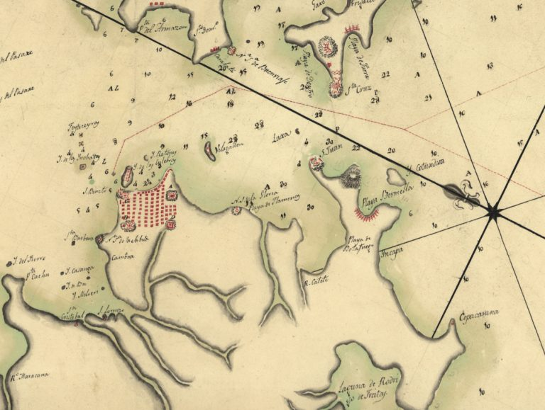 """Plano del puerto del Rio Janeiro situado en la latitud S. de 22°54'10"" longitud occidental de Cádiz 36°31′."" 1780."