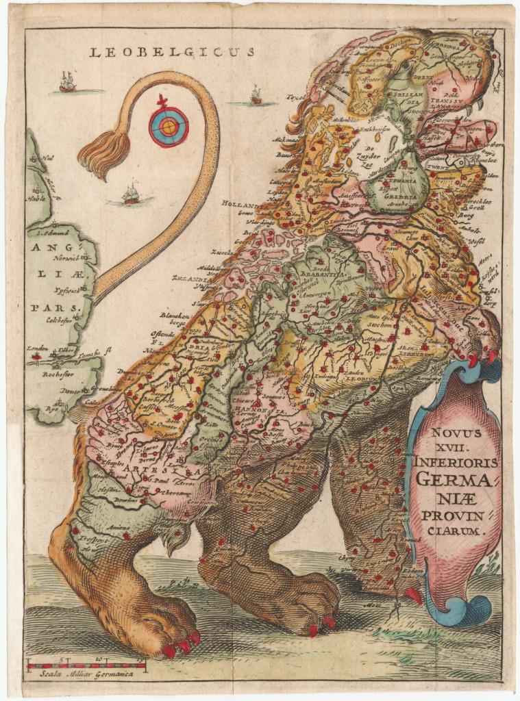 """Фармиана Страда. Карта """"Leo Belgicus"""", 1648 г."""