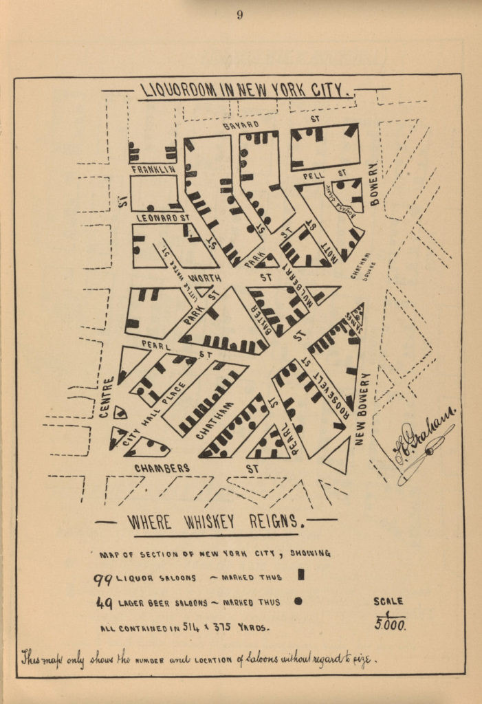 "Роберт Грехэм, ""Алкоцарство в Нью-Йорке: там, где правит виски, улица Чамберс"" (1883 год)"