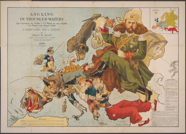 """Фредерик Роуз """"Ловя рыбку в мутной водичке: трагикомическая карта Европы"""" (1899)"""
