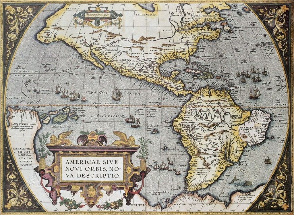 11672877-America-old-map-from-Theatrum-Orbis-Terrarum-the-first-Atlas-in-the-world-Created-by-Abraham-Orteliu-Stock-Photo
