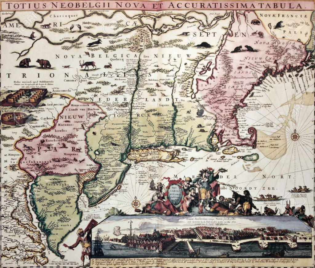 14986576-New-England-old-map-with-New-Amsterdam-insert-view-Created-by-Carel-Allard-published-in-Amsterdam-17-Stock-Photo