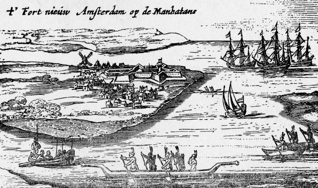 Engraving shows the earliest view of what will someday be Lower Manhattan in New York City and includes several groups of Indians paddling canoes, Dutch sailing ships and rowboats, a fort, a windmill, and a small group of buildings in the settlement, 1626. The superscript reads 'Fort Nieuw Amsterdam op de Manhatans' [Fort New Amsterdam on the Manhattan].  (Photo by New York Historical Society/Hulton Archive/Getty Images)