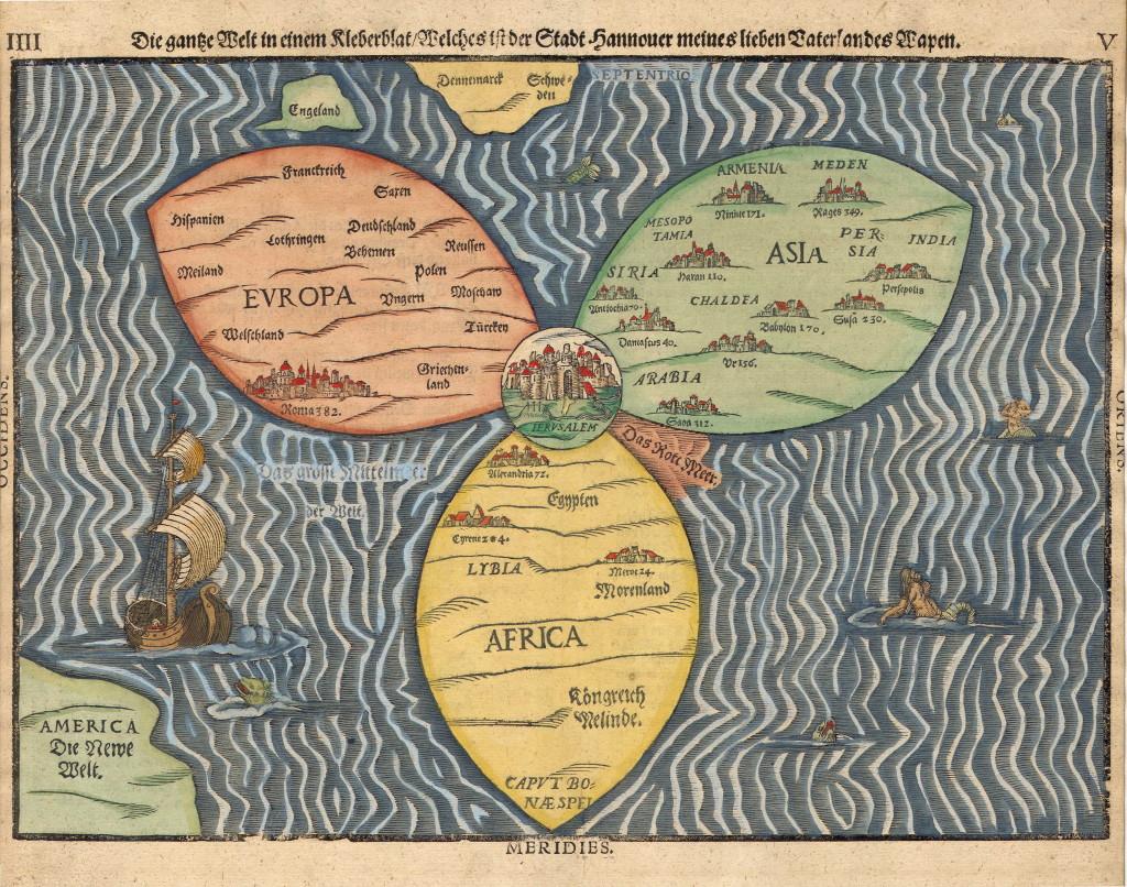 Mappae Mundi - Т-образная карта с Иерусалимом в центре