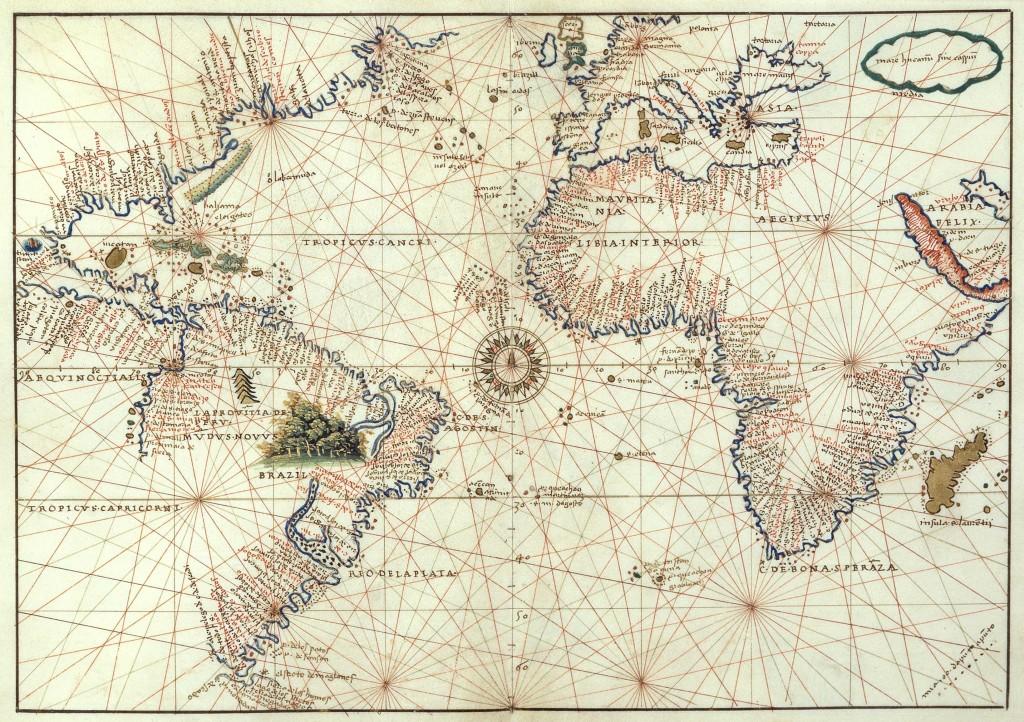Старая карта мира Баттисты Агнезе 1544 года