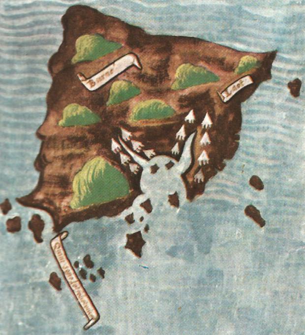 Старая карта Борнео (Антонио Пигафетта, член команды Магеллана)