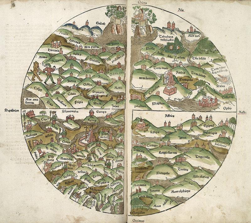 Карта 1475 года из Атласа Rudimentum novitiorum