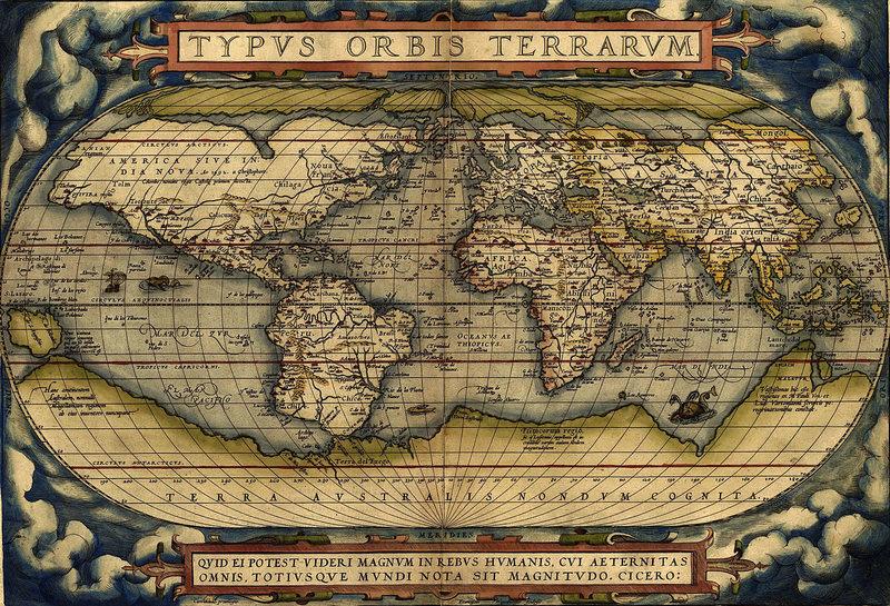 Карта мира Абрахама Ортелиуса, 1570 год