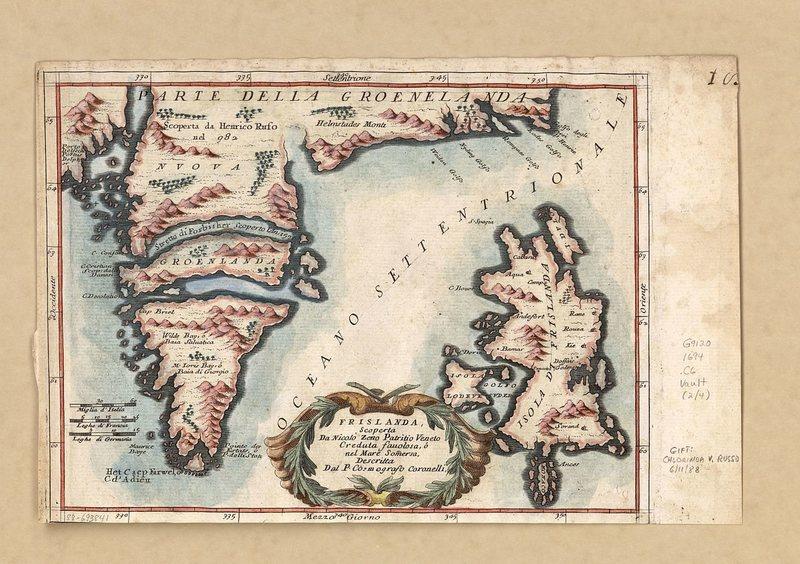 Старая карта Исландии и части Гренландии, автор Винченцо Коронелли, 1592 год