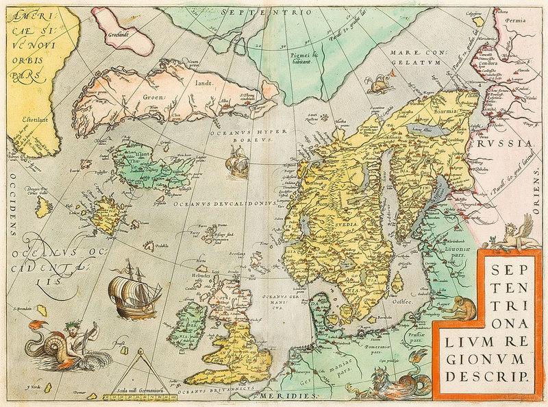 Карта северной Атлантики Абрахама Ортелиуса, 1570 год